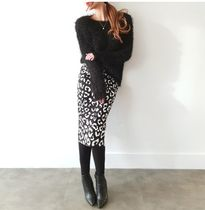 gumzzi Pencil Skirts Leopard Patterns Casual Style Long