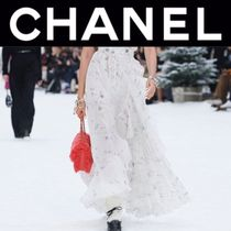 CHANEL ICON Flared Skirts Blended Fabrics Street Style Long Handmade