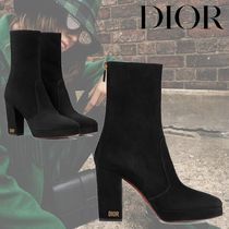 Christian Dior Star Round Toe Suede Plain Leather Block Heels Party Style