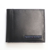 Tommy Hilfiger Unisex Street Style Plain Leather Handmade Folding Wallets