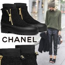CHANEL Tweed Blended Fabrics Plain Ankle & Booties Boots