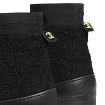 CHANEL Tweed Blended Fabrics Plain Logo Ankle & Booties Boots
