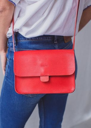 Casual Style Plain Leather Handmade Crossbody Shoulder Bags