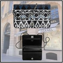 CHANEL 2019-20AW CHAIN WALLET silver&black more wallets & cases