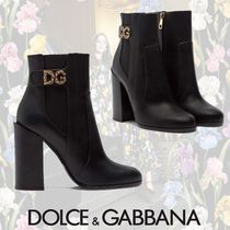 Dolce & Gabbana Plain Toe Casual Style Leather Block Heels With Jewels