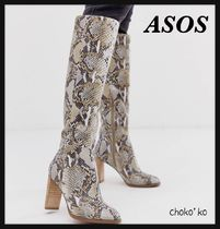 ASOS Casual Style Leather Python Over-the-Knee Boots