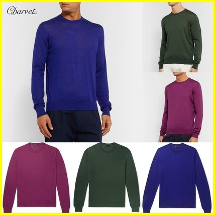 Crew Neck Cashmere Silk Long Sleeves Plain Sweaters