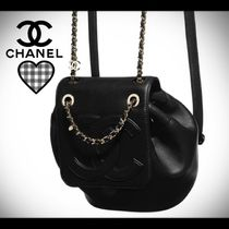CHANEL Casual Style Unisex Lambskin Street Style Chain Plain