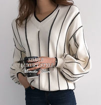 Stripes Puff Sleeves Sweaters