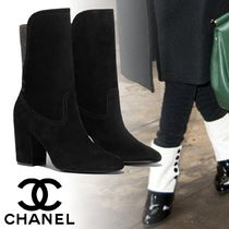 CHANEL Plain Elegant Style Chunky Heels Ankle & Booties Boots
