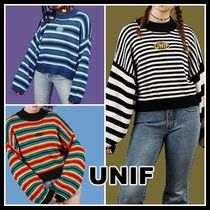 UNIF Clothing Crew Neck Short Stripes Casual Style Linen Long Sleeves