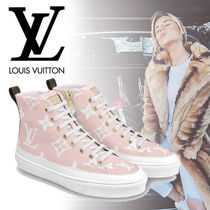 Louis Vuitton Monogram Round Toe Rubber Sole Lace-up Casual Style