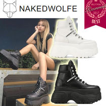 Naked Wolfe Platform Casual Style Street Style Plain Leather