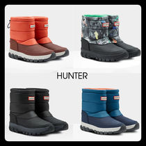 HUNTER Camouflage Rubber Sole Unisex Plain Flat Boots
