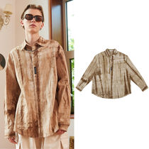 13MONTH Casual Style Unisex Linen Street Style Tie-dye Long Sleeves