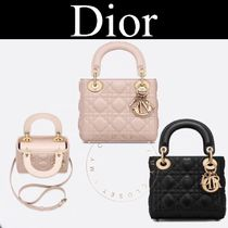 Christian Dior LADY DIOR Other Check Patterns Casual Style Lambskin Street Style 2WAY