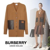 Burberry Wool Blended Fabrics Bi-color Long Sleeves Leather