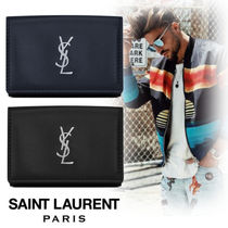 Saint Laurent Monogram Unisex Street Style Plain Leather Folding Wallets