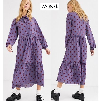Dots Casual Style Long Sleeves Long Tired Dresses