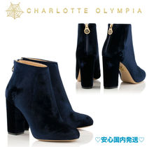 Charlotte Olympia Plain Block Heels Elegant Style Ankle & Booties Boots