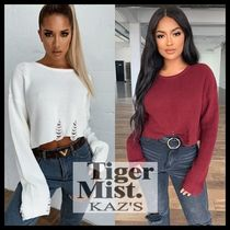 Tiger Mist Crew Neck Short Casual Style Blended Fabrics Long Sleeves