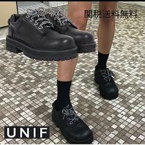 UNIF Clothing Lace-up Casual Style Unisex Plain Leather Shoes