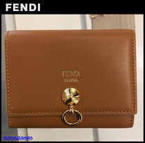 FENDI BY THE WAY Unisex Calfskin Bi-color Leather Folding Wallets