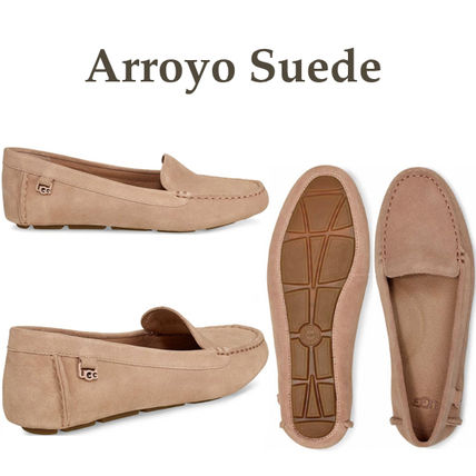 Rubber Sole Plain Leather Office Style Flats