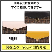 FENDI Monogram Unisex Leather Long Wallets