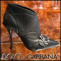Dolce & Gabbana Plain Leather Elegant Style Ankle & Booties Boots