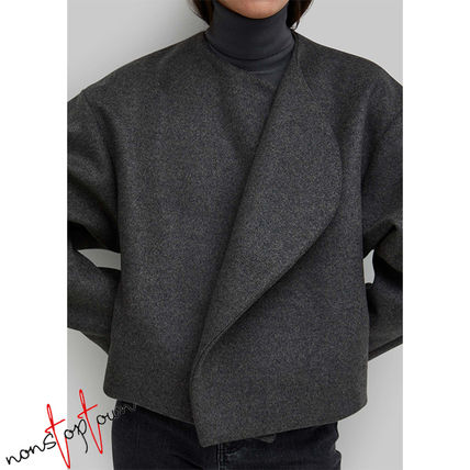 Short Wool Plain Oversized Elegant Style Jackets