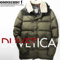 DUVETICA Fur Leather Long Down Jackets