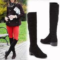 Stuart Weitzman Round Toe Rubber Sole Suede Plain Over-the-Knee Boots