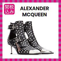 alexander mcqueen Studded Leather Pin Heels Ankle & Booties Boots