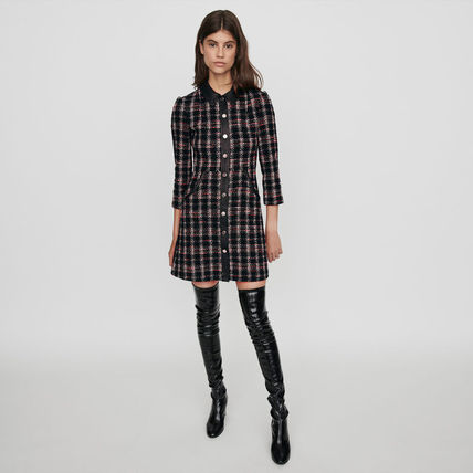 Short Other Plaid Patterns A-line Cropped Cotton