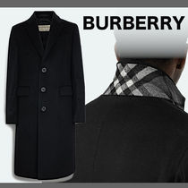Burberry Wool Cashmere Blended Fabrics Plain Long Chester Coats