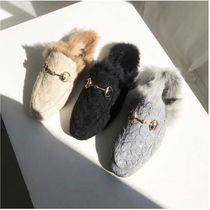 Casual Style Faux Fur Plain Office Style Slippers