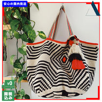 THE SMALL HOME Casual Style Tassel A4 Handmade Totes