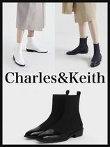 Charles&Keith Casual Style Plain Block Heels Ankle & Booties Boots