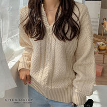 Cable Knit Casual Style Henry Neck Long Sleeves Plain Medium
