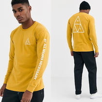 HUF Crew Neck Long Sleeves Cotton Logos on the Sleeves