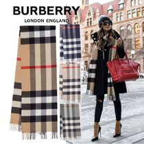 Burberry Tartan Other Check Patterns Unisex Cashmere Fringes