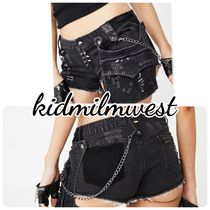 DOLLS KILL Short Casual Style Denim Chain Plain Denim & Cotton Shorts