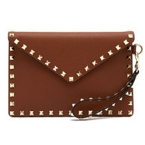 VALENTINO Studded Plain Leather Party Style Clutches