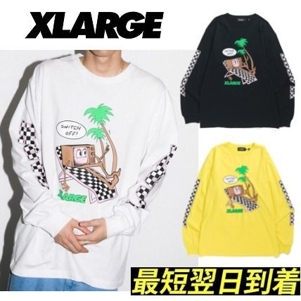 X-Large Long Sleeve Pullovers Other Check Patterns U-Neck Long Sleeves Cotton