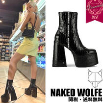Naked Wolfe Casual Style Chunky Heels Mid Heel Boots