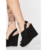 DOLLS KILL Open Toe Plain Platform & Wedge Sandals