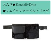 Kendall + Kylie Casual Style Faux Fur Street Style Plain Shoulder Bags