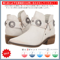 CHINESE LAUNDRY Round Toe Casual Style Chunky Heels Mid Heel Boots