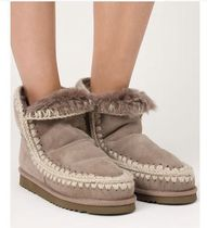 Mou Round Toe Casual Style Sheepskin Plain Boots Boots